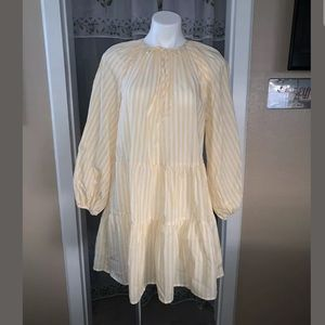 H&M Puff Sleeved Dress Yellow White Striped Short